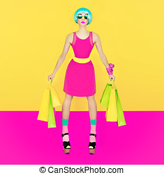 Puppet girl, Crazy Shopping on yellow background