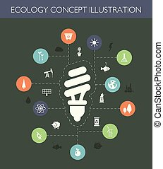 Illustration of ecological flat design composition with long...