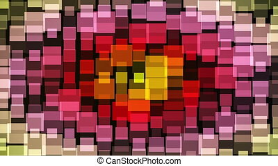 Abstract multicolor flashing squares