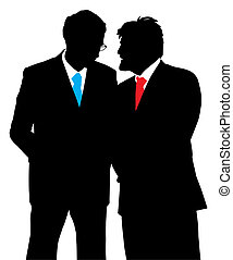Two businessmen talking about a business plan. Isolated...