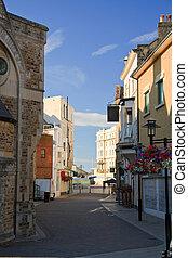 Hastings, UK - Street in the old town of Hastings, UK