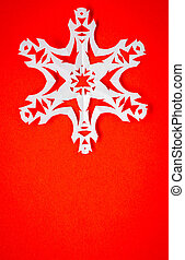 Vintage Christmas postcard with true paper snowflakes