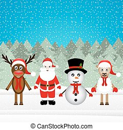 Santa Claus, reindeer, snowman and sheep in the Christmas...