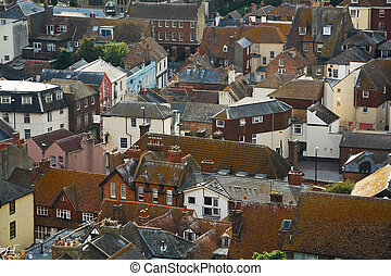 Hastings, East Sussex, UK - View of Hastings from the East...
