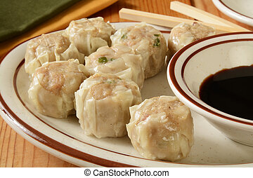 Prok Shu Mai - Chinese pork dumplings with soy sauce and...