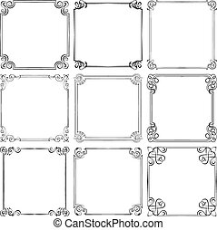 Set of different vector decorative frames - Set of nine...