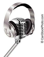 microfono, e, cuffie,
