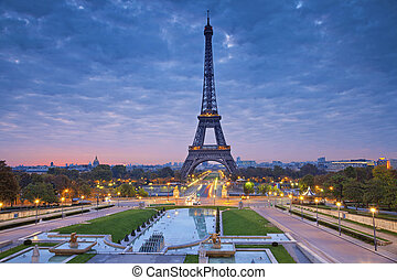Paris, France - Image of Paris at sunrise with the Eiffel...