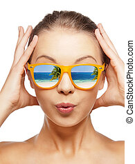 amazed teenage girl in sunglasses - travel, vacation, summer...