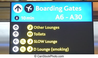 boarding gate panel flashing - international airport board...