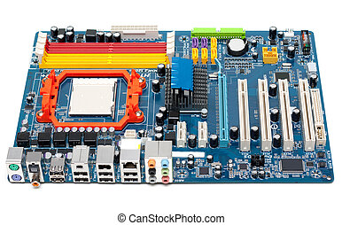 Charge motherboard, slots for memory, capacitors, system of...