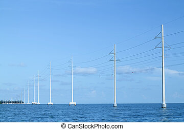 Power lines over water in the Florida Keys