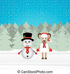 snowman and Christmas goat in the woods