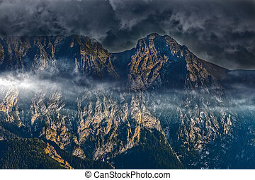 Great Giewont massif - View of Giewont covered with dark...
