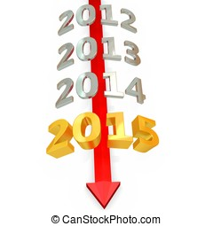 3D red  arrow with year 2015