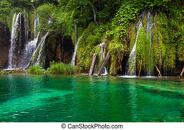 Small Waterfall - Waterfall and lake at Plitvice Lakes,...
