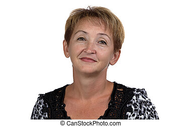 Image of the old woman with short hair on white background