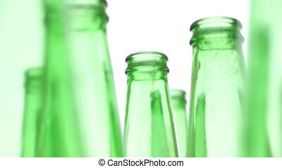 Bottles Green Recycling Standing - Zooming shot of a bunch...