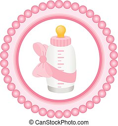 Baby bottle it's a girl round label - Scalable vectorial...
