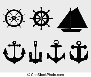 anchor and rudder - Silhouettes of anchor and rudder, vector