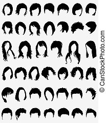 hair - Vector illustration of different hair styling