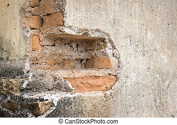 Old cement brick wall with blank space for text.