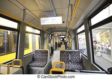 Inside of an electric train in Berlin