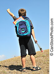To school - Boy am glad that he goes to school learning