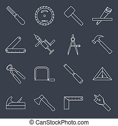 Carpentry tools icons outline - Carpentry wood work tools...