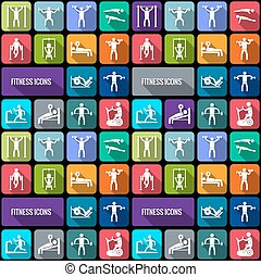 Fitness icons set - Workout sport and fitness gym training...