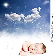 Magic winter night sky and sleeping baby - Magic winter...