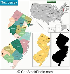 New Jersey map - Map of New Jersey state designed in...