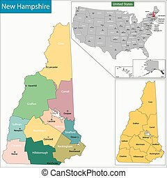 New Hampshire map - Map of New Hampshire state designed in...