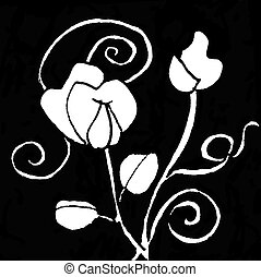 Sweet pea spirals - Ink Pattern Seven, abstract pattern,...