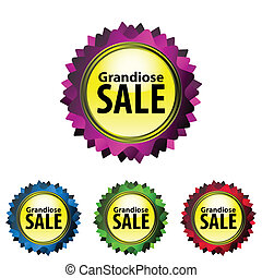 Grandiose SALE - Vector set labels. Vibrant color. Grandiose...