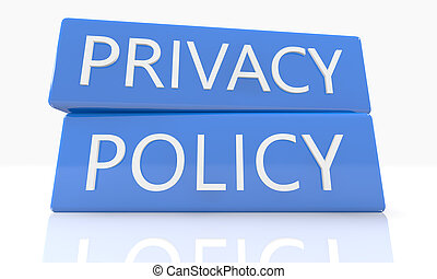 Privacy Policy - 3d render blue box with text Privacy Policy...