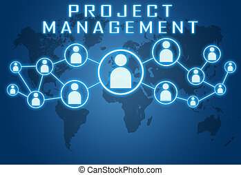 Project Management concept on blue background with world map...