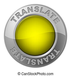 Translate Button Means Vocabulary Language And Multi-Lingual...