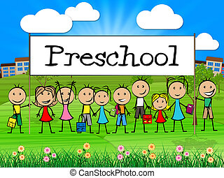 Preschool Kids Banner Represents Childrens Toddlers And...