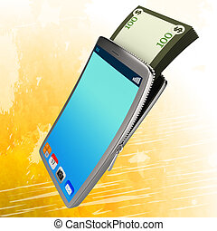 Dollars Phone Represents World Wide Web And Bank