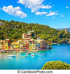 Portofino luxury village landmark, panoramic aerial view....