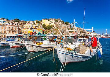Symi Town Greece - Traditional Greek fishing boats in...