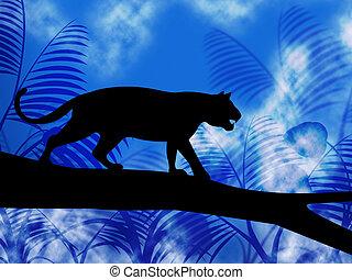 Auf baum zeigt dschungel tiere und katz stock illustrationen