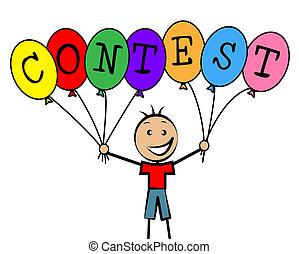 concurso, Globos, medios, niños, desafío, y,...