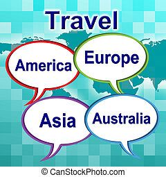 Travel Words Shows Traveller Travelled And Travels - Travel...