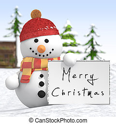 Snowman with red hat and scarf holding a signboard in left...