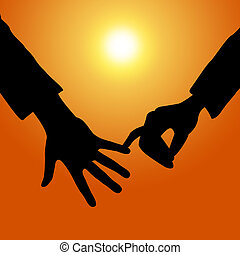 Holding Hands Shows Tenderness Together And Fondness -...