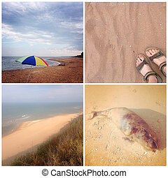 Sea of Azov views - Collage Sea of Azov views. Beach, sand,...