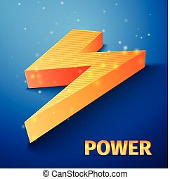 orange flash symbol  on blue background