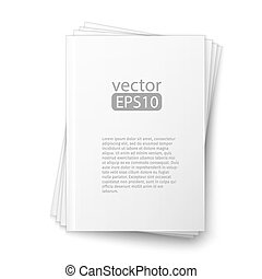 Stack of blank magazines template. on white background with soft shadows. Ready for your design.